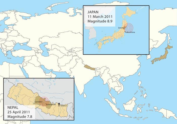 Terremoti in Nepal e Giappone vettore