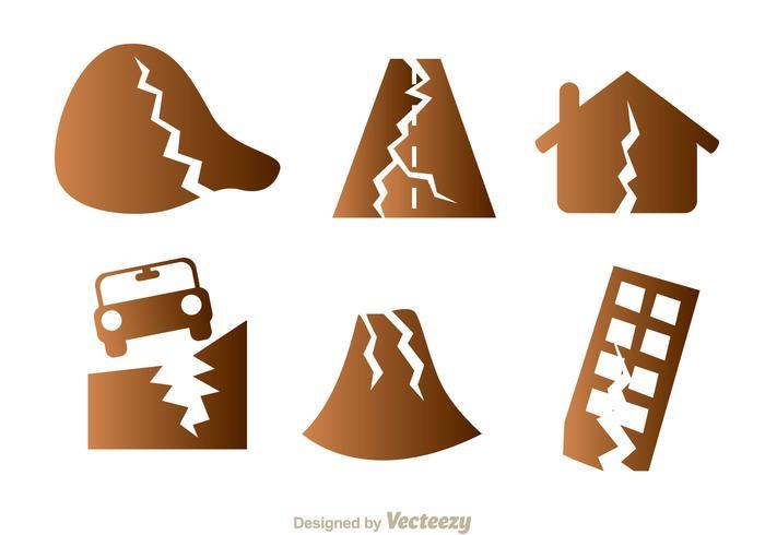 Icone di danno da terremoto vettore