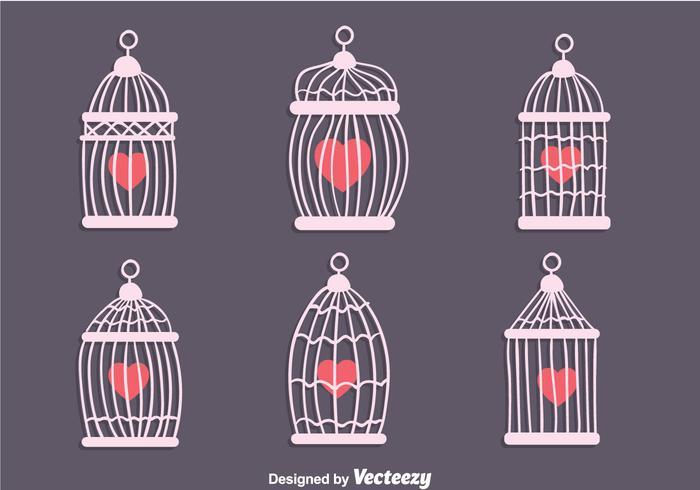Gabbia per uccelli d'epoca con vettori a forma di cuore