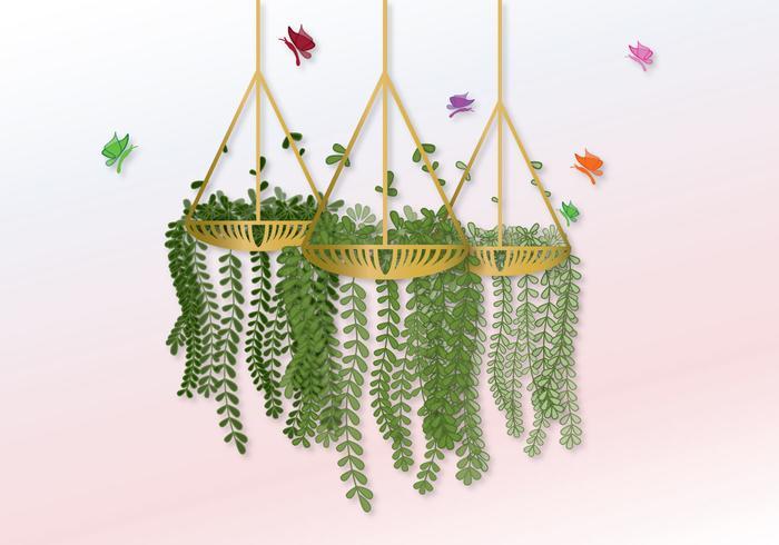 Vector Hanging Pot con fiori