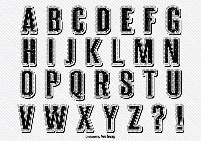 Set di alfabeto stile retrò vintage vettore