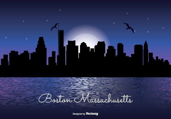 Illustrazione dell'orizzonte di notte di Boston Massachusetts vettore