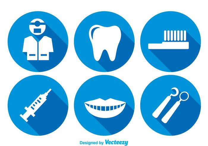 Denti cura icone lunghe ombre vettore