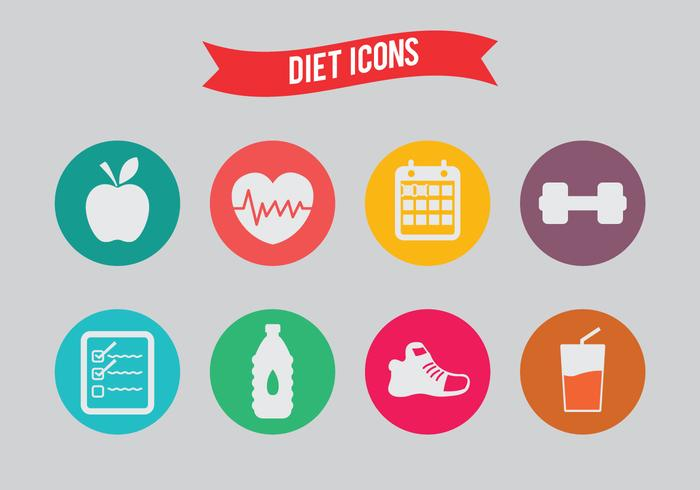 Icone di dieta vettoriale
