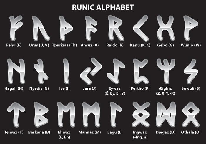 Alfabeto runico d'argento vettore