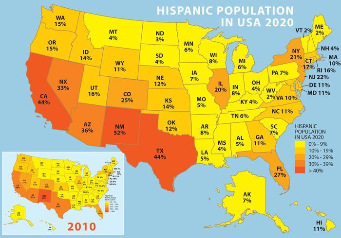 Popolazione ispanica negli USA vettore