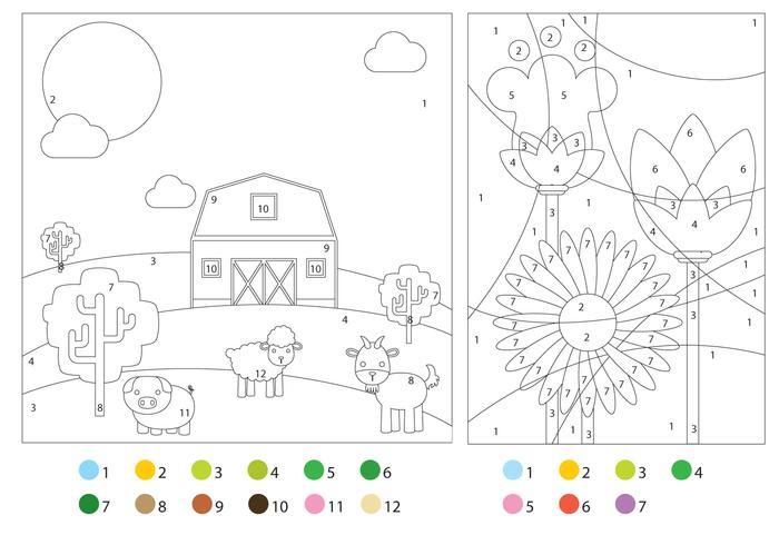 Disegni da colorare con guide colori vettore