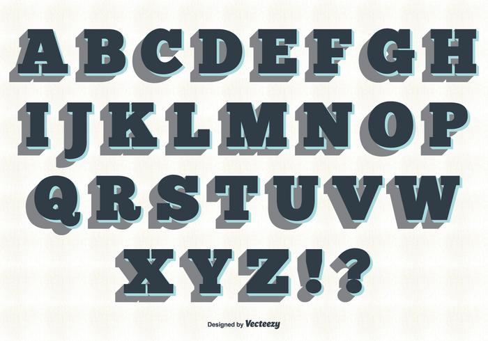 Set di alfabeto stile retrò vettore