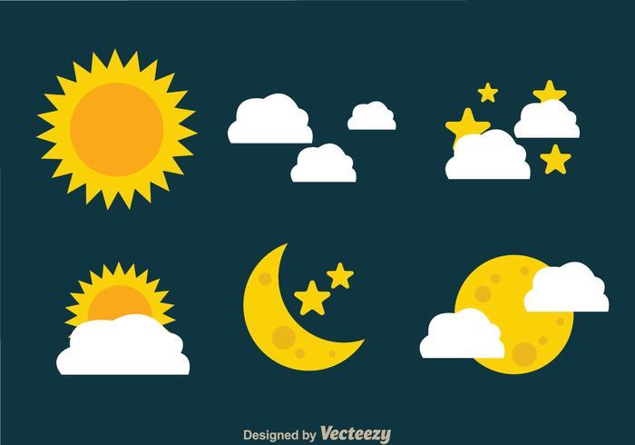 Icone di sole e luna vettore