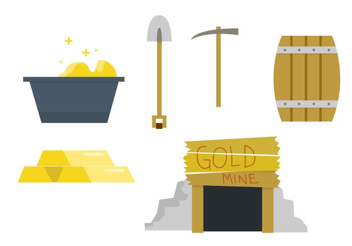 Set vettoriale miniera d'oro