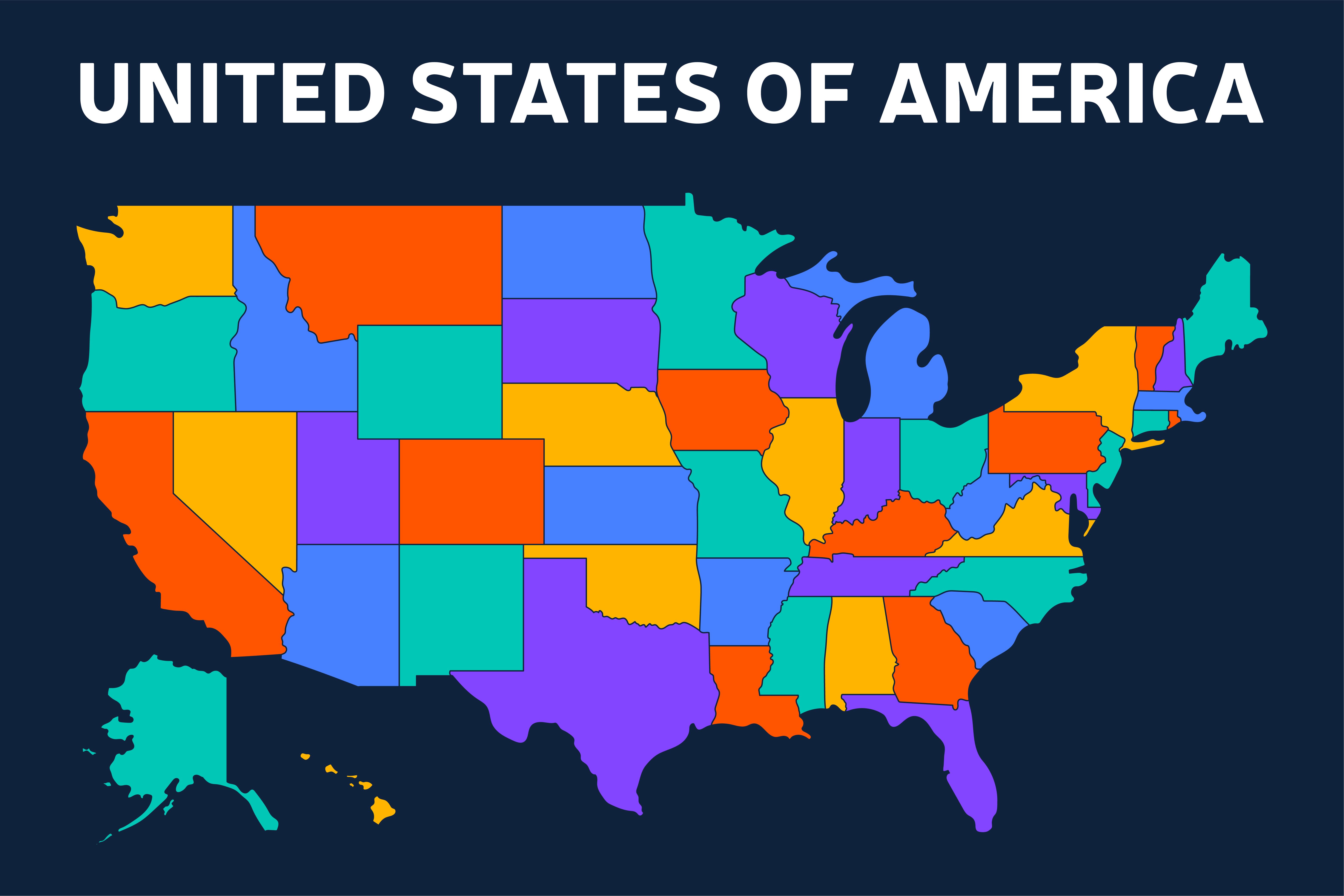 Cartina Muta Delle Americhe.Mappa Muta Di Usa Stati Uniti D America Nei Colori Dello Spettro Dell Arcobaleno 1819503 Scarica Immagini Vettoriali Gratis Grafica Vettoriale E Disegno Modelli