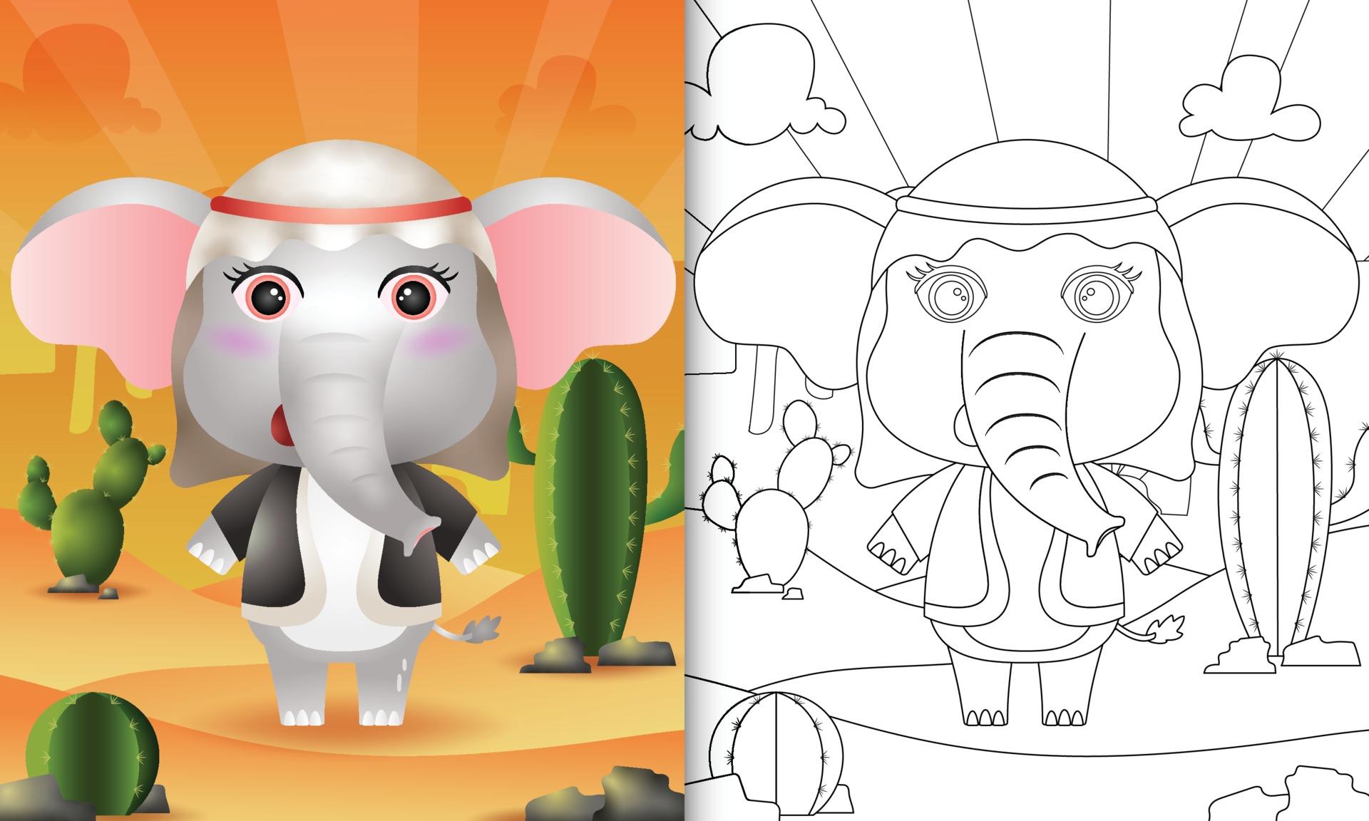 Libro Da Colorare Per Bambini A Tema Ramadan Con Un Simpatico Elefante In Costume Tradizionale Arabo 2117652 Scarica Immagini Vettoriali Gratis Grafica Vettoriale E Disegno Modelli