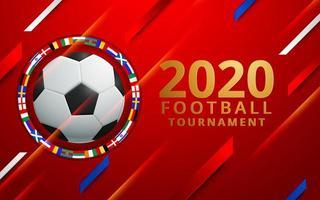 Torneo di calcio 2020 con cerchio di bandiere vettore