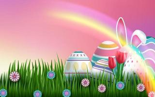 disegno di carta di Pasqua con uova e arcobaleno vettore
