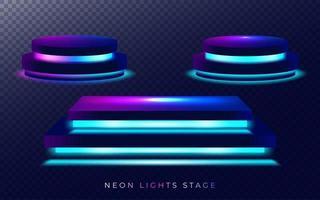 set di stadi di luce al neon vettore