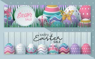 set di banner web sconto vendita speciale di Pasqua vettore
