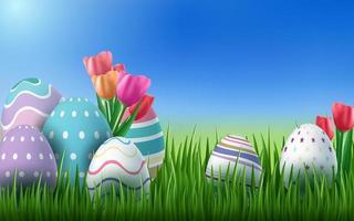 uova realistiche in erba sfondo di Pasqua d vettore