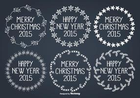 Set di etichette disegnate a mano di Natale