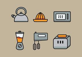 Insieme dell'illustrazione degli utensili della cucina di vettore