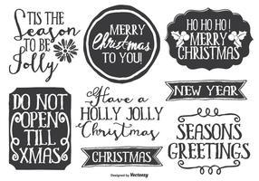Set di etichette di Natale stile Disegnato a mano carino disordinato
