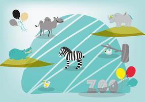 Fondo disegnato a mano sveglio di vettore degli animali dello zoo