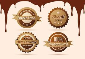 Raccolta gratuita di etichette, scudetti e icone di cioccolato vettore