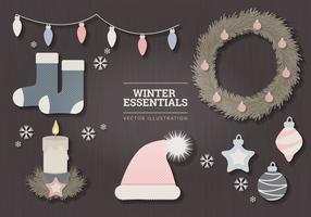 Illustrazione di vettore di elementi essenziali di inverno pastello