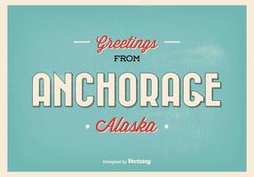 Illustrazione d'annata di saluto di Anchorage Alaska