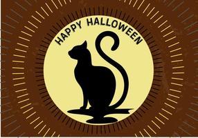 Gatto della luna di Halloween vettore