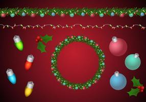 Spazzole di ghirlanda e ghirlanda di Natale vettore