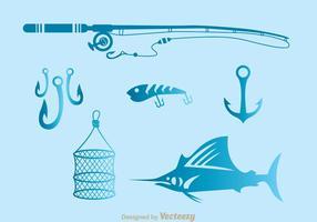 Icone degli strumenti di pesca vettore