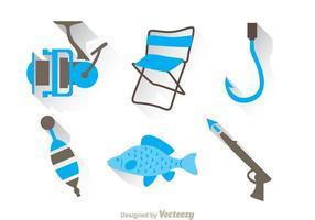 Duo di pesca tonifica icone di colori vettore