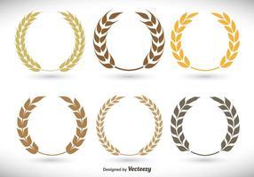 Set di corona di alloro piatto vettore