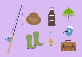 Collezione di accessori per la pesca in vettoriale