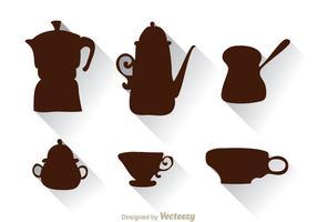 Siluetta araba della tazza e della caffettiera vettore