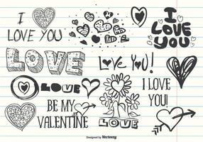 Doodles di amore carino assortiti vettore