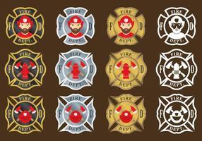 Emblemi di vigile del fuoco vettore