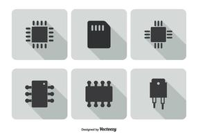 set di icone di microchip