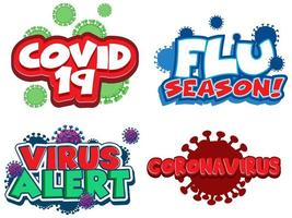 covid-10 e set di design di parole virus