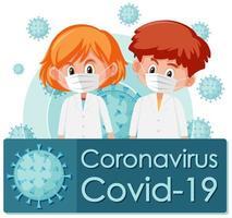 poster di cartone animato coronavirus covid-19 vettore