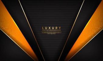lusso astratto sfondo nero e arancio con linee dorate vettore