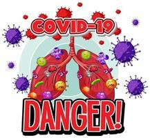 cellule di virus covid-19 nei polmoni umani vettore