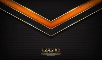 lusso astratto nero e arancione con linee dorate vettore