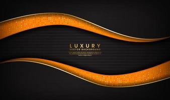 lusso astratto sfondo nero e arancione con linee dorate nel design delle onde vettore