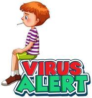 testo di avviso virus con ragazzo malato vettore