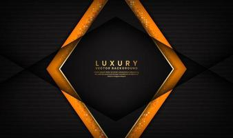 lusso astratto sfondo nero e arancione con linee dorate a forma di rombo vettore