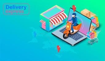 scooter di consegna in sella a laptop con gps