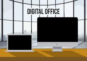 Sfondo vettoriale di ufficio digitale