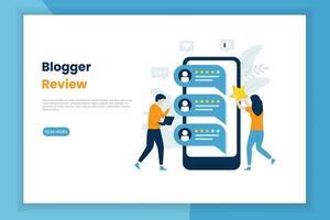 pagina di recensione di blogger vettore