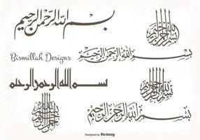 Set di forme di disegni di Bismillah vettore